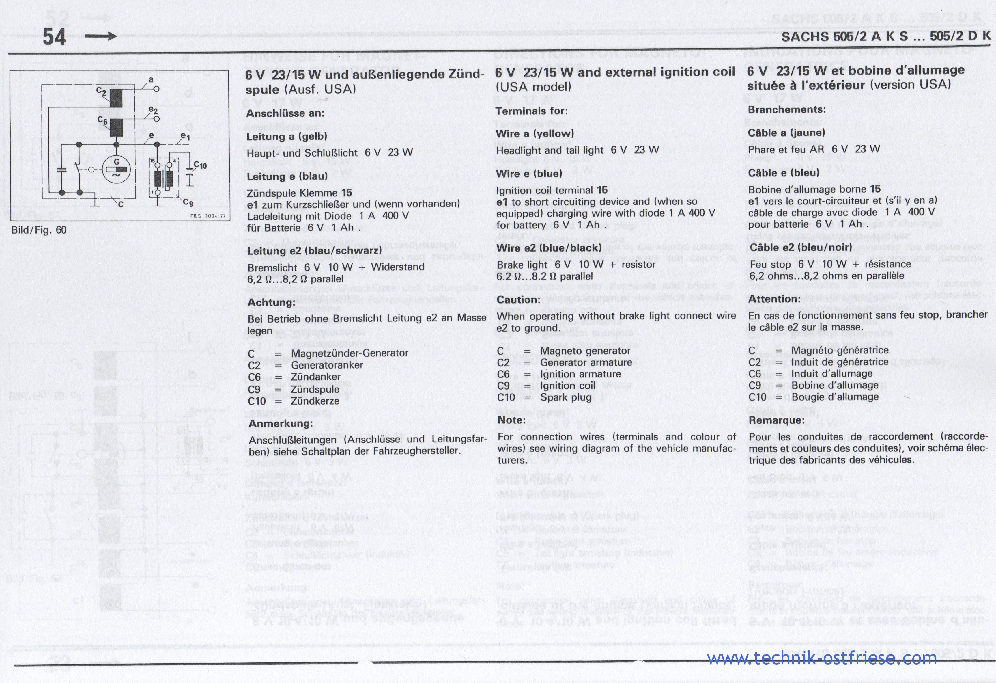 SACHS 505/2 Motor | 6V 23/15W Zündung (außenliegende Zündspule)