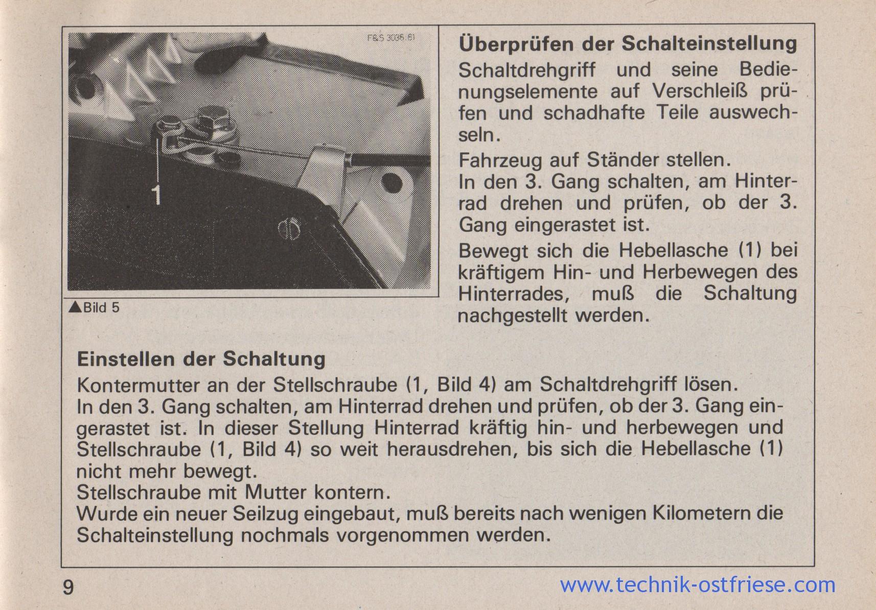 SACHS 506/3 BY   Schalteinstellung, Schaltung einstellen, prüfen