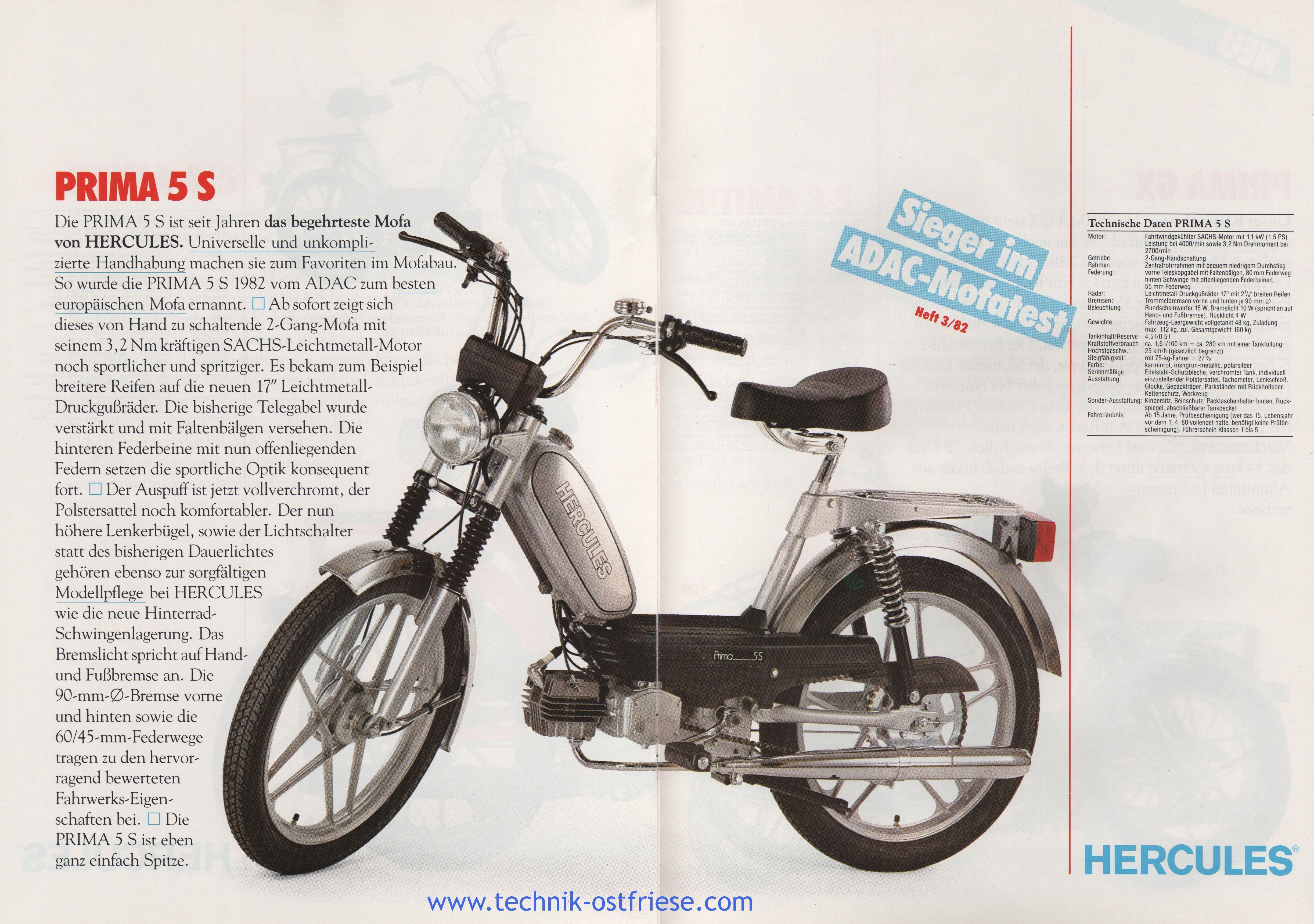 hercules prospekt mofas hercules prima 5s technische. Black Bedroom Furniture Sets. Home Design Ideas